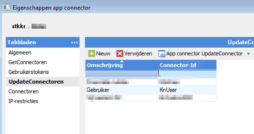 UpdateConnector toevoegen aan AppConnector STKKR