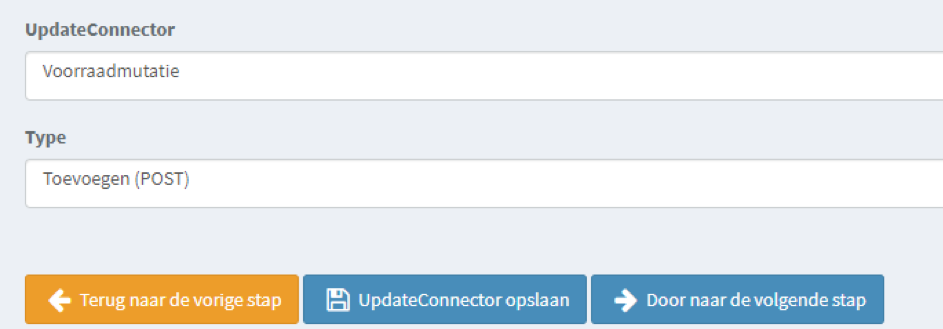Updateconnector, voorraadmuttie, stkkr, afas