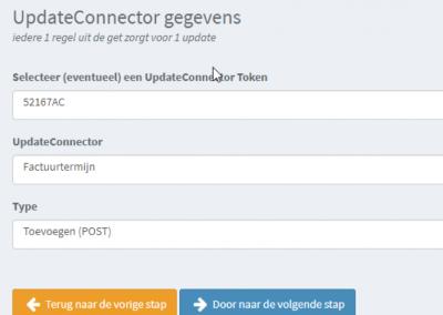 4: Stel de update connector in