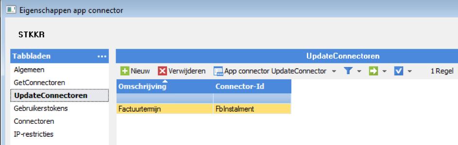 eigenschappen appconnector, STKKR
